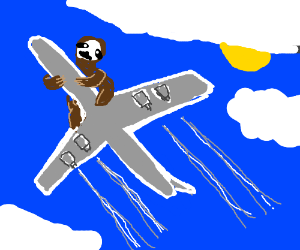 Giant sloth saddled plane from below