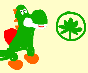 yoshi finds weed in green circle
