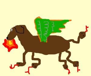 brown dragon snake dog