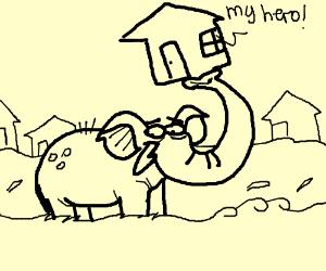 Elephant saves a house from a flood.