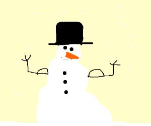 snowman flexes his muscles