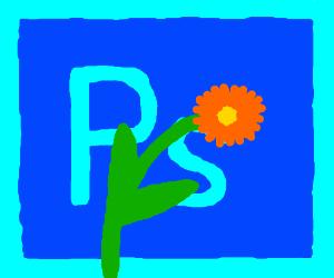 Photoshoplogo with flower infront