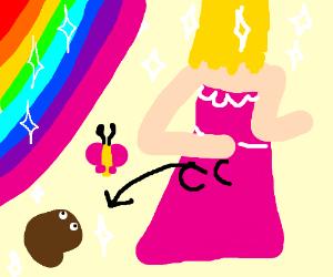 Disney-Princess-Esque girl leaves poop-rat...