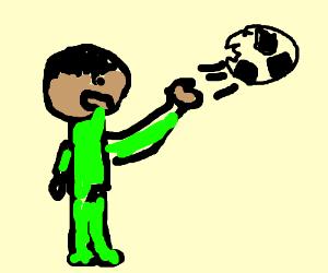Aryan child throwing flawed football