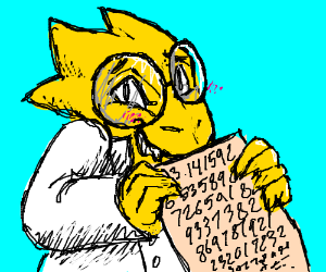 Alphys writes out the numbers of pi