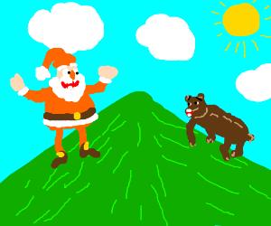 Santa and Bear went up the hill