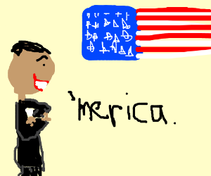 Barack Obama is smiling to the american flag