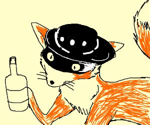 Zorro drinks cuz he turned into a zorro (fox)