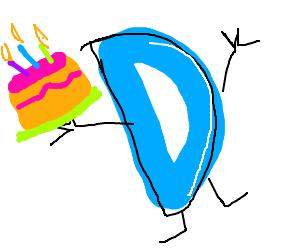 Drawception logo holding cake
