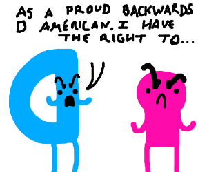Backwards D argues pathetically with pink man