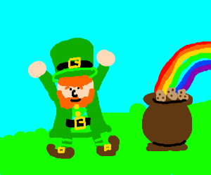 Jolly leprechaun with his spuds