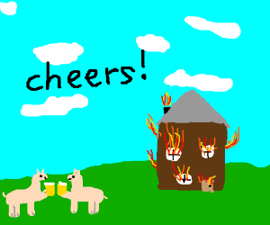 Llama cheers from house burning