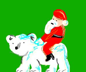 Santa rides Polar Bear