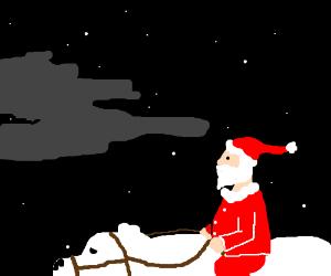 santa riding a polar bear