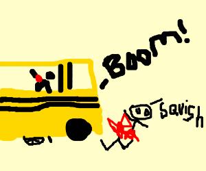 Arrogant cyclist is hit by grey bus