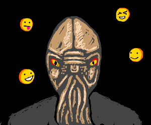 An Ood surrounded by smiley faces
