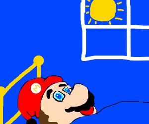 Mario wakes up to sunny morning.