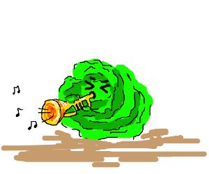 cabbage plays trumpet