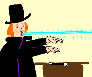 guy tries telekinesis, shoots lazer instead