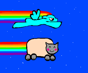 Rainbow dash racing against Nyancat