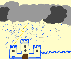 Blue lego castle in thunder storm