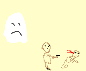 A ghost sadly watches a murder.