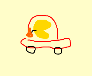 Pac man in red car takes a fanta