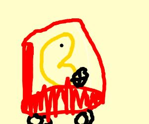 Pacman rides a car