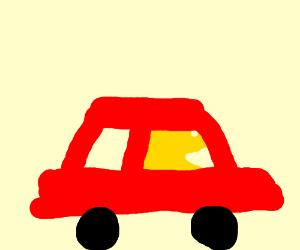 Pac man Drivers a Red Car