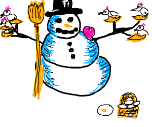 Snowman pleased with life of holding chickens