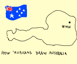 an american draws australia