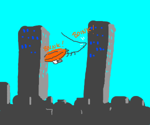 Blimp bonks harmlessly between twin towers