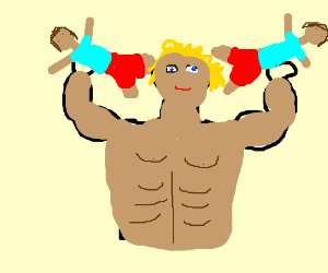Bodybuilder uses people as weights.