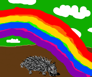 Hedgehog in front of rainbow smiles evilly