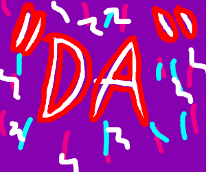 """""""D A"""" with purple background"""