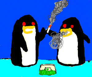 Two penguins that are high