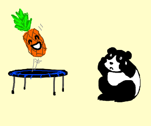 panda scared of happy pineapple on trampoline