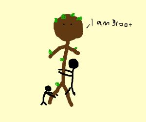 People hug Groot