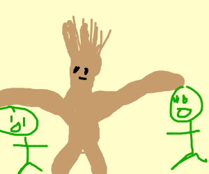 Groot picking up 2 green men