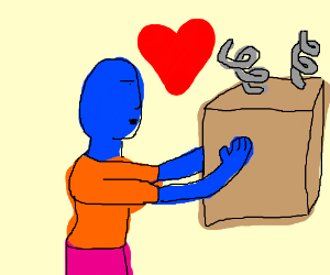 Blue Man loves a cardboard box with springs.