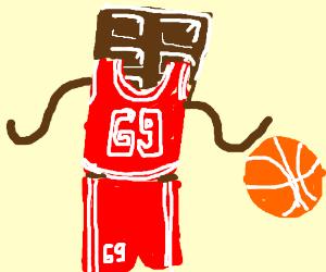 A chocolate bar in a basketball uniform.