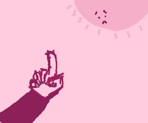 Giving the sun the finger