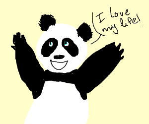 Happy panda is happy about life