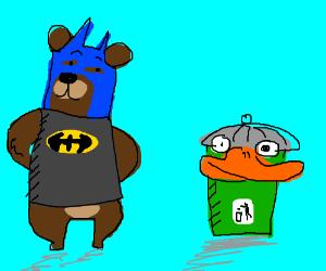 bat-bear and duck-bin