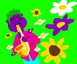 Colourful jazz player summons flowers.