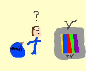 Postman is confused by rainbow television.