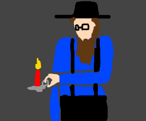 Amish guy with a candle.