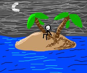Man on island in the ocean