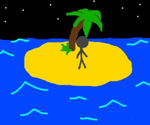 Stickman on an island at night