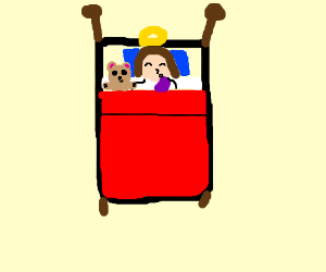 Jesus and teddy goes to bed